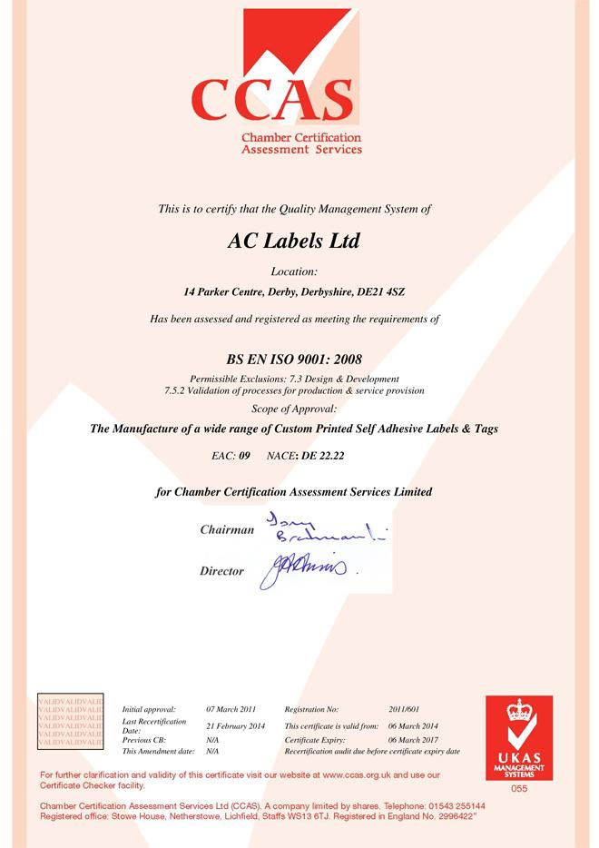 Gammatex CCAS ISO Certificate